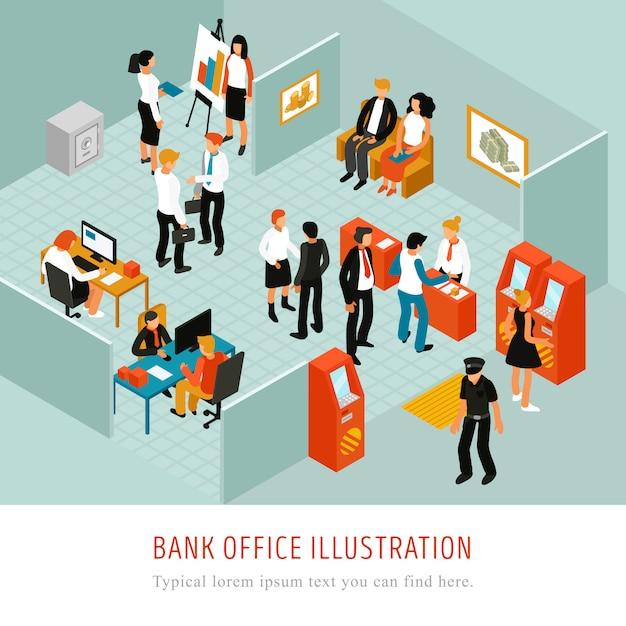Composición isomérica de la oficina bancaria vector gratuito
