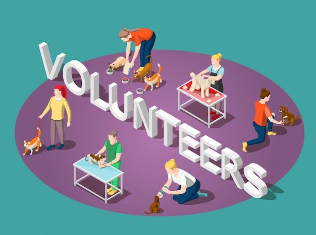 Composición isométrica de animales voluntarios vector gratuito