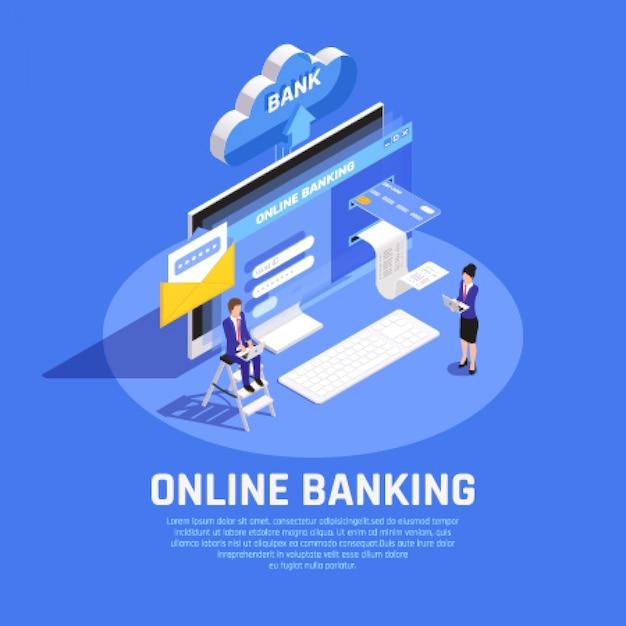 Composición isométrica de banca por internet con servicio de seguridad de almacenamiento en la nube de tarjeta de crédito de inicio de sesión de cuenta en línea vector gratuito