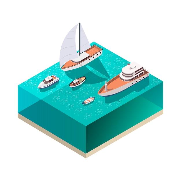 Composición isométrica de los barcos vector gratuito