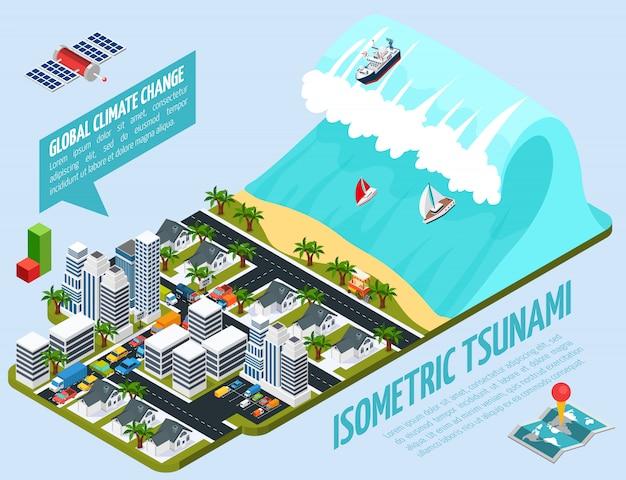 Composición isométrica del calentamiento global del tsunami vector gratuito
