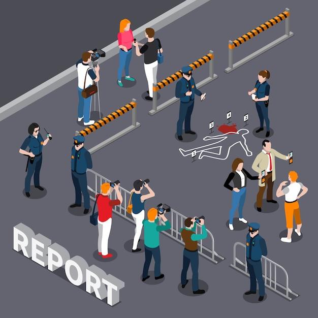 Composición isométrica del camarógrafo fotógrafo con policías del área acordonada y personas cerca de la escena del crimen vector gratuito