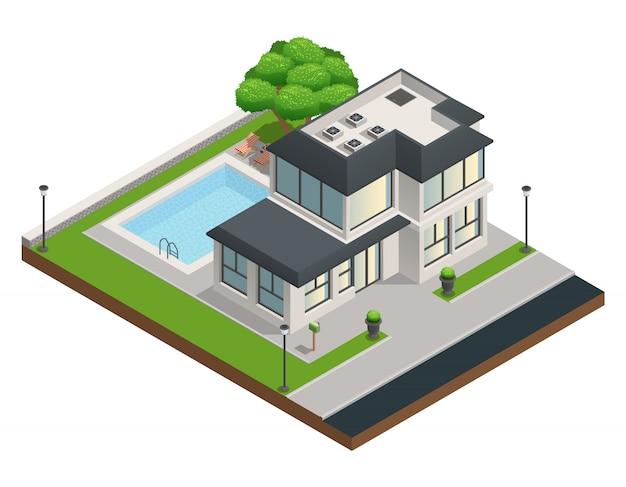 Composición isométrica con una casa privada de dos pisos suburbana moderna y un patio limpio vector gratuito