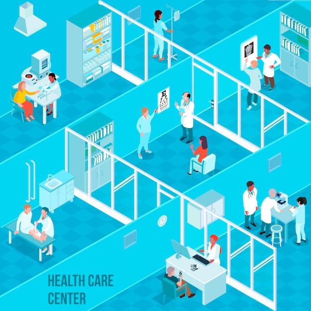 Composición isométrica del centro de salud vector gratuito