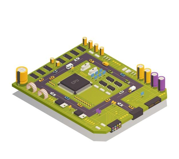 Composición isométrica de componentes electrónicos de semiconductores vector gratuito
