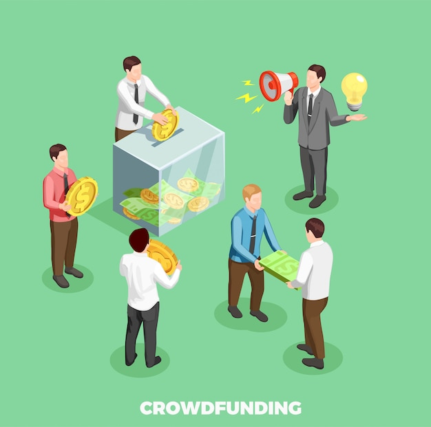 Composición isométrica de crowdfunding vector gratuito