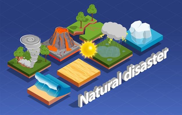 Composición isométrica de desastres naturales vector gratuito