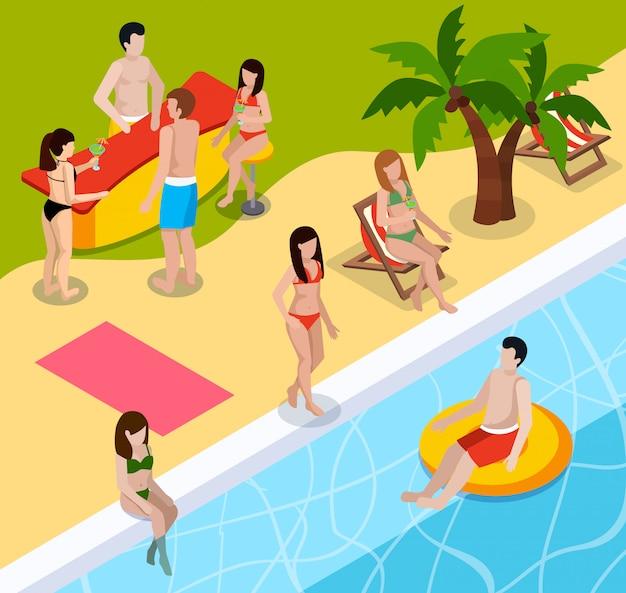 Composición isométrica de descanso de piscina vector gratuito