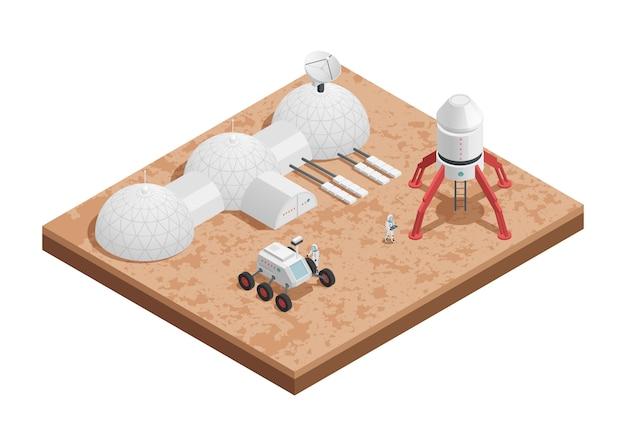 Composición isométrica del espacio del cohete de color con plataforma para lanzar cohetes y su ingeniería vector gratuito