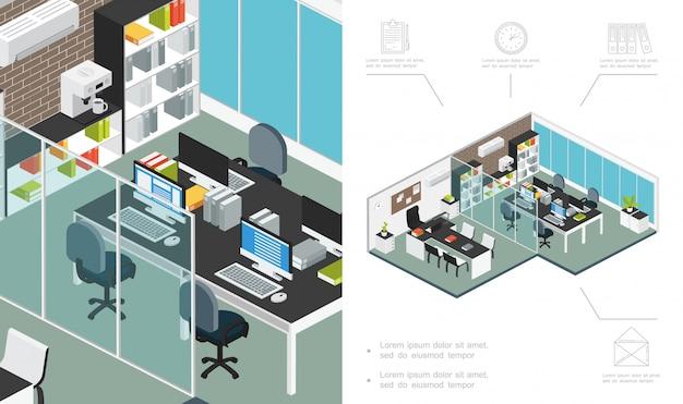 Composición isométrica del espacio de trabajo de la oficina con muebles, estantería para computadora, máquina de café, acondicionador, plantas, escritorio, sala de negociación, carpetas de archivos, reloj, documento, carta, iconos vector gratuito