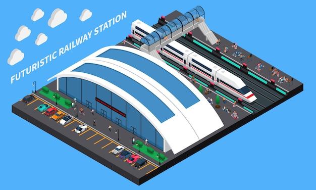 Composición isométrica de la estación de tren futurista vector gratuito