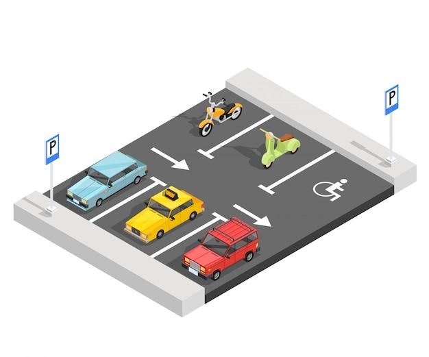 Composición isométrica del estacionamiento vector gratuito