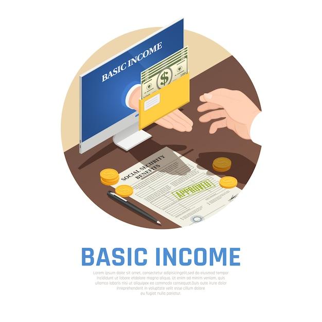 Composición isométrica de ingresos básicos vector gratuito