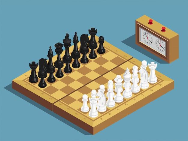 Composición isométrica inicial del ajedrez vector gratuito