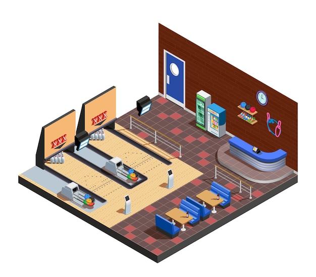 Composición isométrica interior del club de bolos con zona de juegos café y estante de administrador vector gratuito