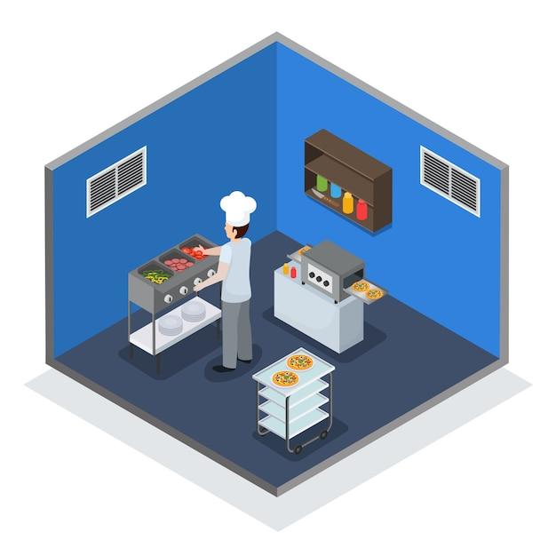 Composición isométrica interior de cocina profesional vector gratuito