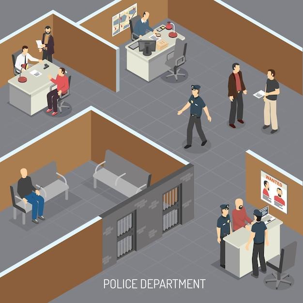 Composición isométrica interior del departamento de policía con sospechoso de delito en detención provisional previa al juicio y oficina de detectives vector gratuito