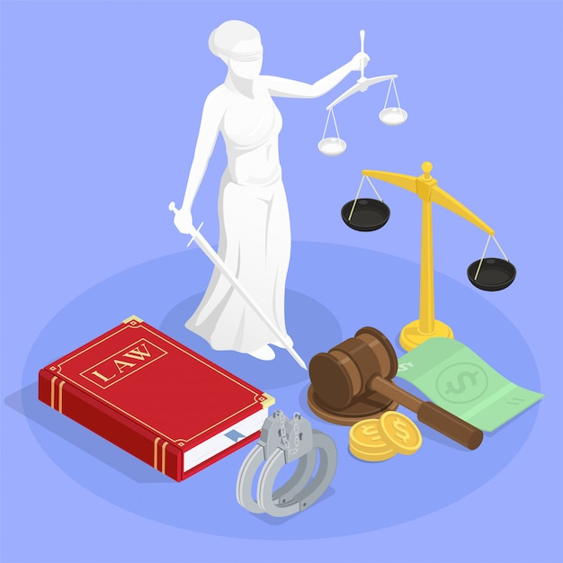 Composición isométrica de la justicia de la ley con la estatua de las pulseras del libro de ley de themis y otros símbolos de jurisdicción ilustración vector gratuito