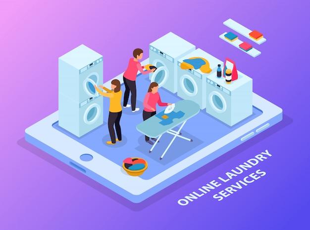 Composición isométrica del lavadero con imagen conceptual de tableta y equipo de lavandería con personas en pantalla táctil vector gratuito