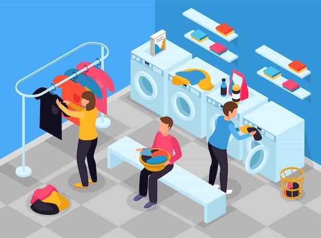 Composición isométrica del lavadero con vista interior del lavadero con lavadoras, detergentes y personas vector gratuito