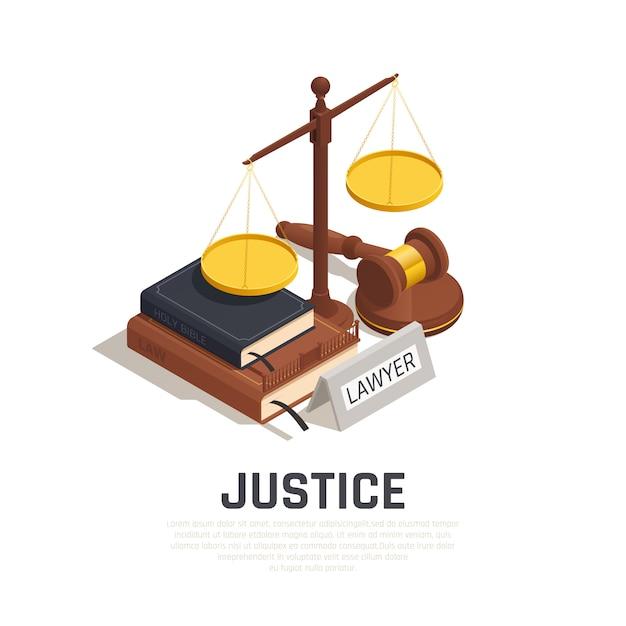Composición isométrica de la ley con la biblia del libro de códigos legales del mazo y símbolo de la escala de la justicia vector gratuito
