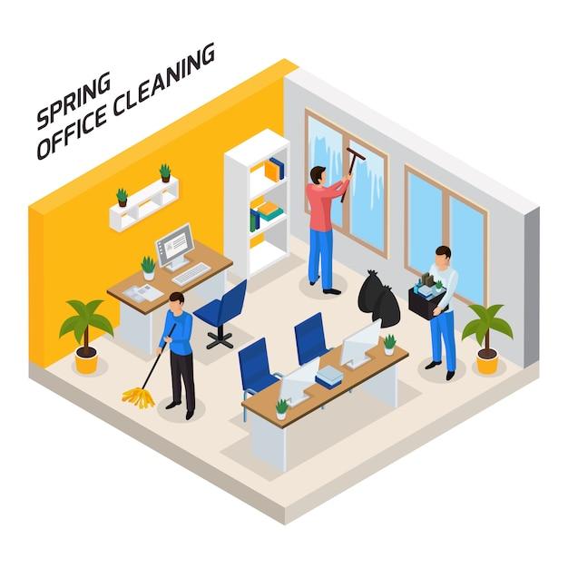 Composición isométrica de limpieza de oficinas vector gratuito