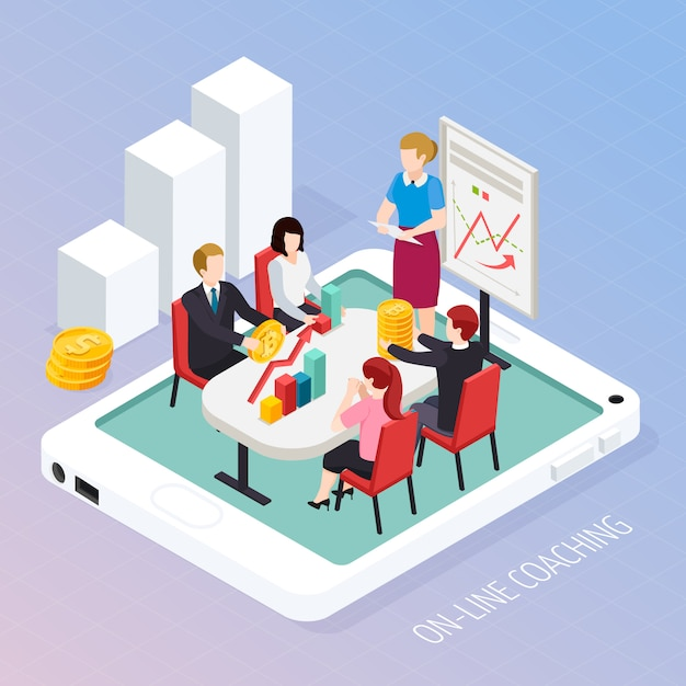 Composición isométrica en línea de coaching empresarial vector gratuito
