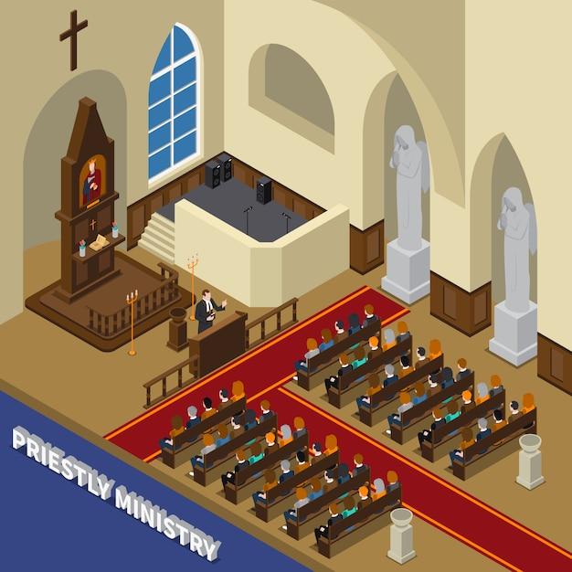 Composición isométrica del ministerio sacerdotal vector gratuito