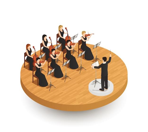 Composición isométrica de orquesta vector gratuito