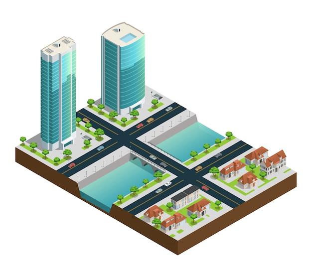 Composición isométrica del paisaje urbano con rascacielos modernos casas suburbanas cerca del canal vector gratuito