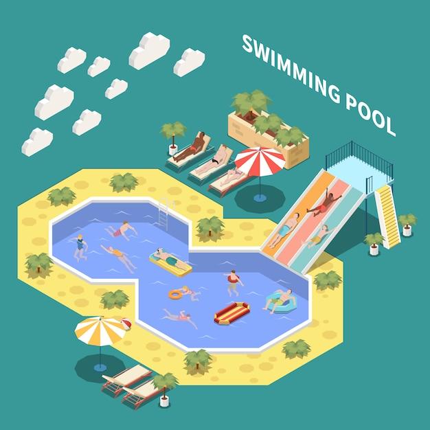 Composición isométrica del parque acuático con tumbonas, toboganes acuáticos y piscinas abiertas con personas y texto vector gratuito