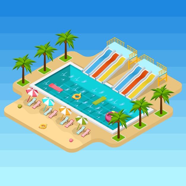 Composición isométrica del parque acuático vector gratuito