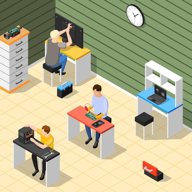 Composición isométrica del personal en el centro de servicio vector gratuito
