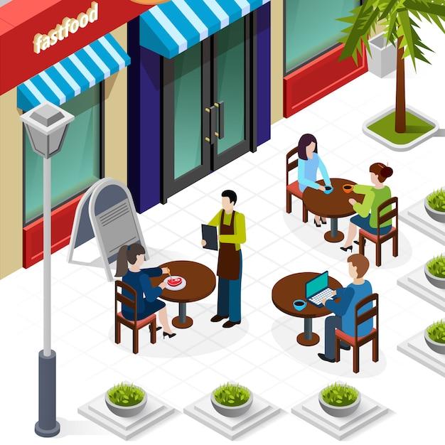 Composición isométrica de personas de almuerzo de negocios vector gratuito