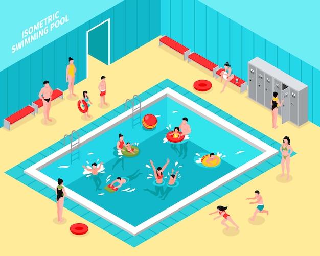Composición isométrica de piscina familiar vector gratuito