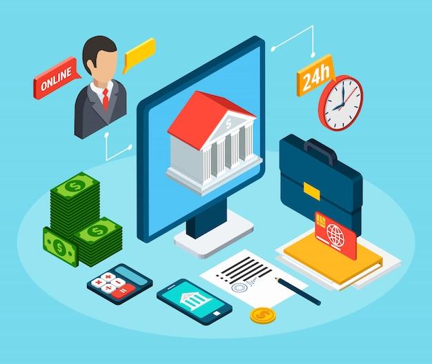 Composición isométrica de préstamos con conjunto de lugar de trabajo con pictogramas de oficina y finanzas vector gratuito