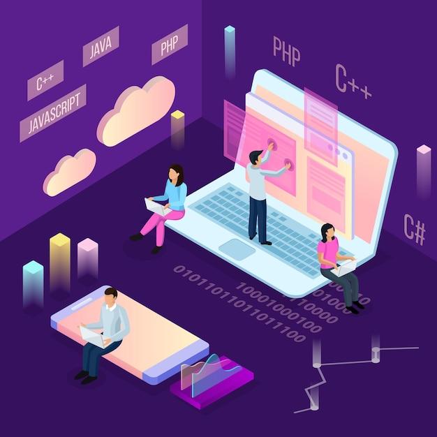 Composición isométrica de programación independiente con personas e iconos conceptuales de computación en la nube con imágenes financieras y personajes humanos vector gratuito