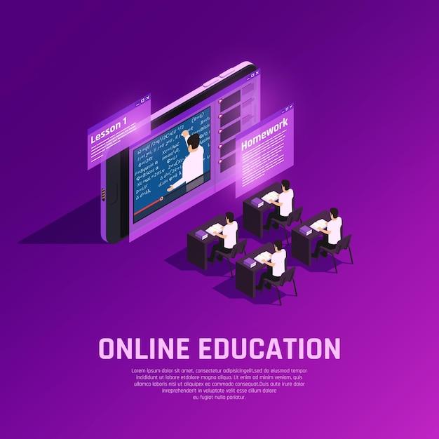 Composición isométrica resplandor de educación en línea con aula futurista conceptual con estudiantes y docentes en pantalla vector gratuito