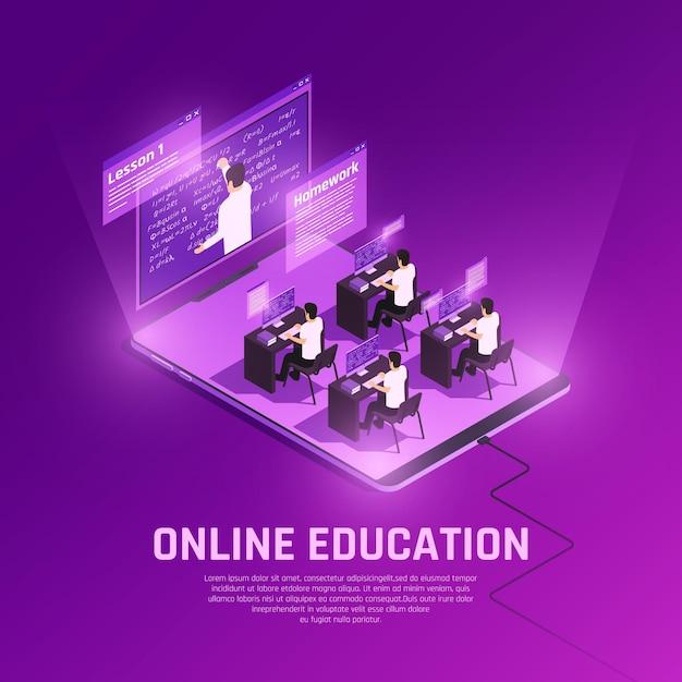 Composición isométrica de resplandor de educación en línea con vista del entorno de alta tecnología con computadoras y maestros vector gratuito