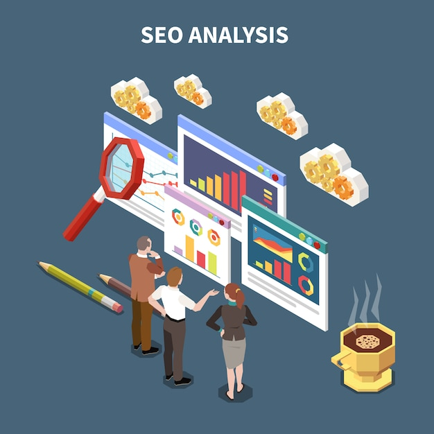 Composición isométrica de seo web con título de análisis seo y tres colegas miran estadísticas abstractas e ilustración de gráficos vector gratuito