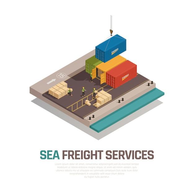 Composición isométrica de servicios de transporte marítimo con carga de envío en contenedores por grúa en el puerto vector gratuito