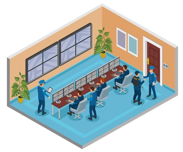 Composición isométrica de sistemas de seguridad con cámaras de vigilancia cctv que monitorean y responden operadores interiores de la sala de oficiales vector gratuito