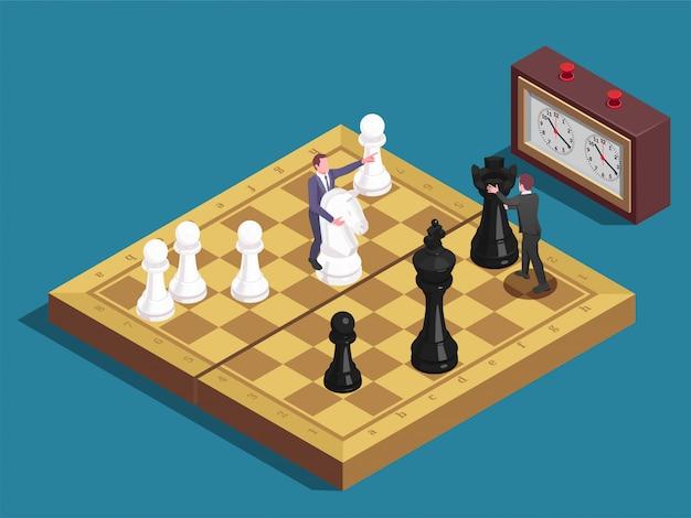 Composición isométrica del tablero de ajedrez vector gratuito