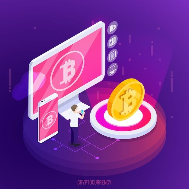 Composición isométrica de tecnología financiera de criptomonedas con dispositivos electrónicos y moneda de oro sobre púrpura vector gratuito