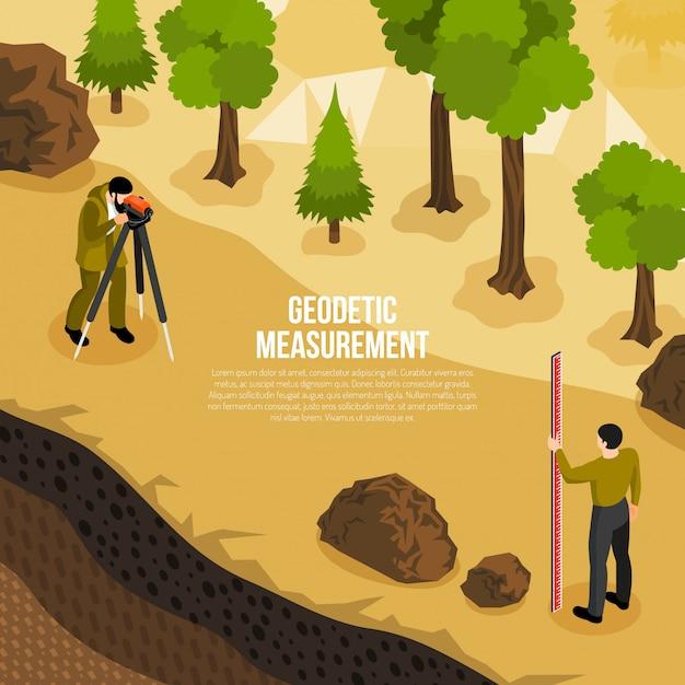 Composición isométrica del trabajo de campo del geólogo con hombres que toman mediciones geodésicas de la ilustración de vector de superficie vector gratuito