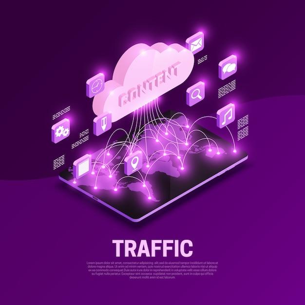 Composición isométrica del tráfico web con ilustración de símbolos de contenido mundial vector gratuito