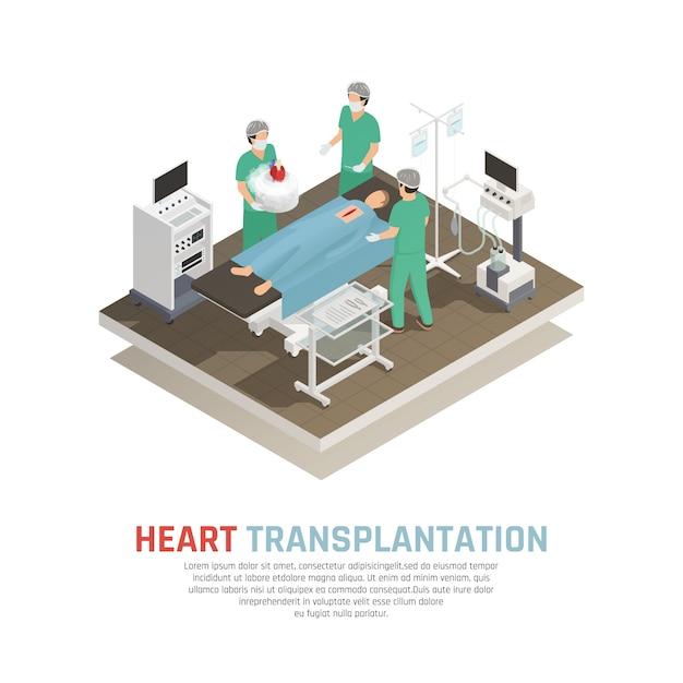 Composición isométrica de trasplante de corazón humano vector gratuito