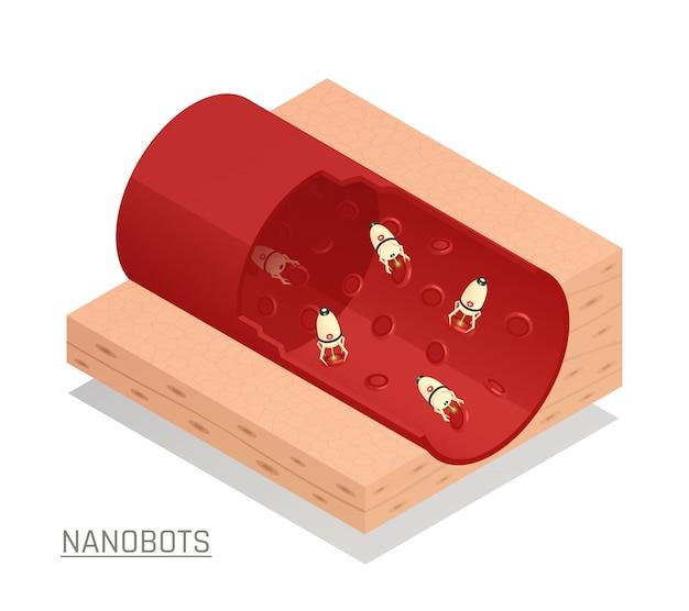 Composición isométrica del vaso sanguíneo de los nanorobots vector gratuito