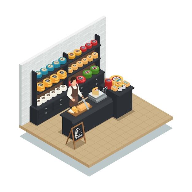 Composición isométrica del vendedor de queso vector gratuito