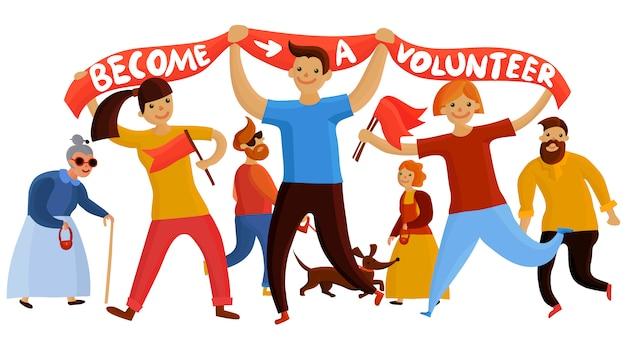 Composición de jóvenes entusiastas del voluntariado vector gratuito
